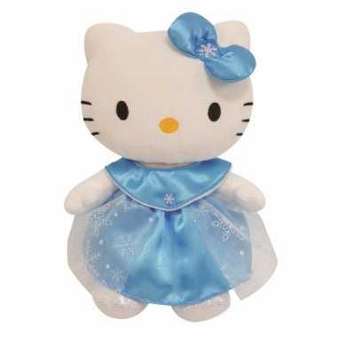 Cartoon knuffels hello kitty in blauwe jurk