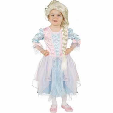 Kinderkostuum blauw met zachtroze prinsessenjurk