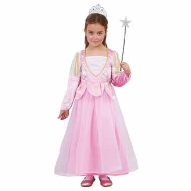 Kinderkostuum roze glitter prinsessenjurk